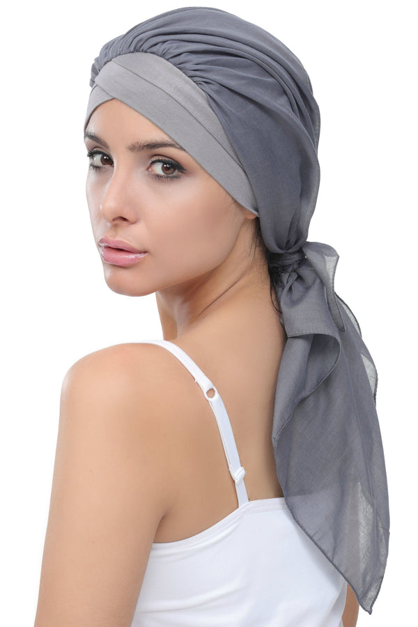 Deresina W cap with attached chemo headscarf style36 grey grey