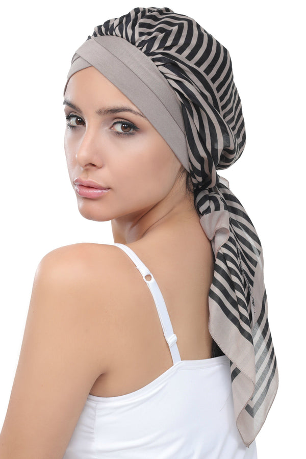 Deresina W cap with attached chemo headscarf mink printed