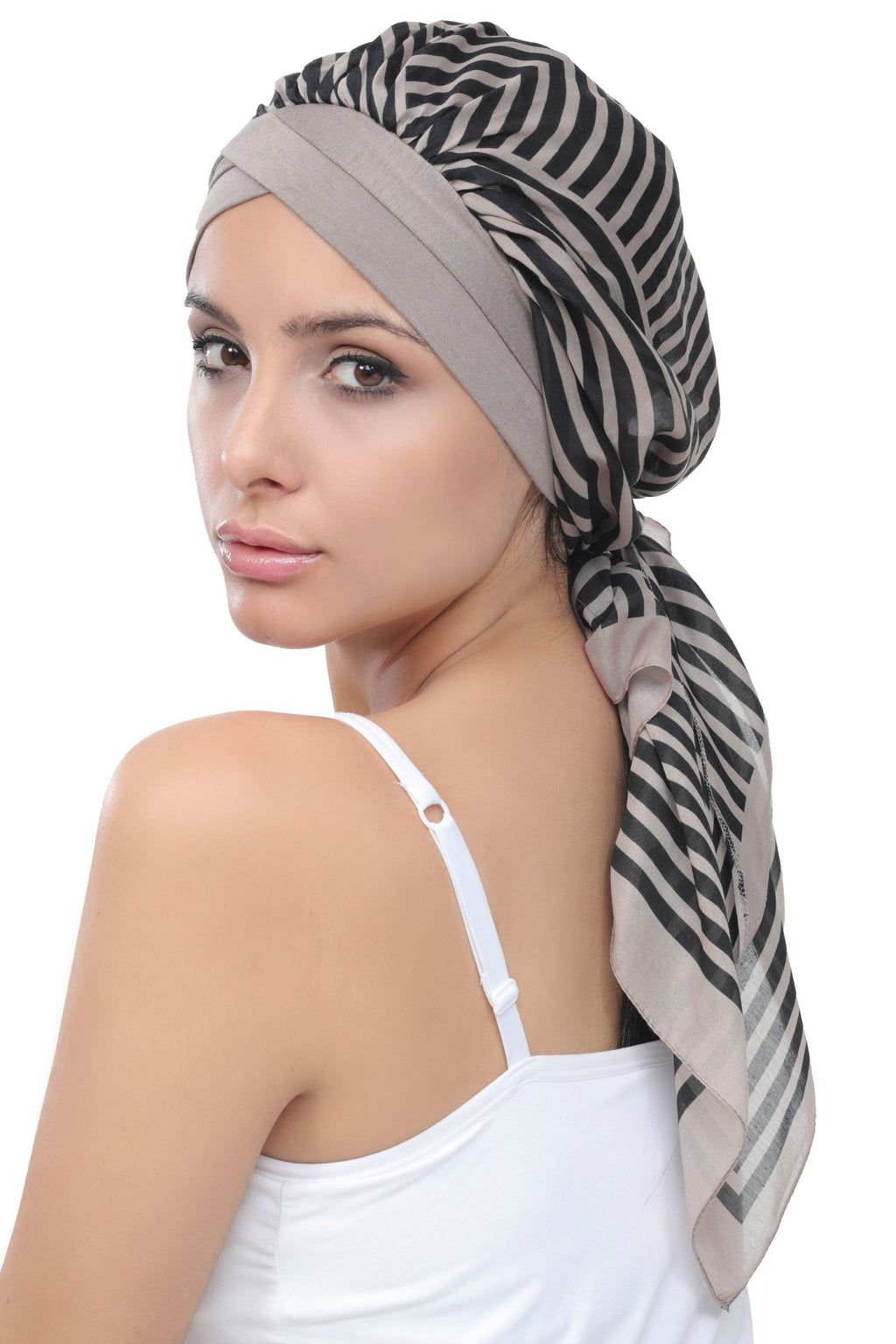 Deresina W cap with attached chemo headscarf style37 mink printed