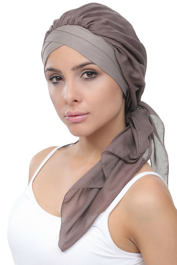 Deresina W cap with attached chemo headscarf style38 mink