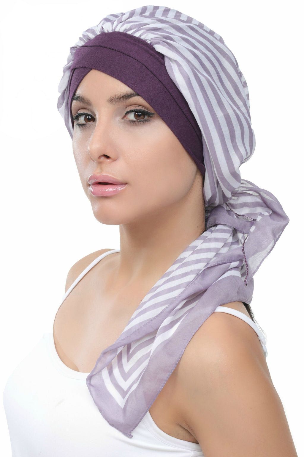Deresina W cap with attached chemo headscarf style40 mulberry printed