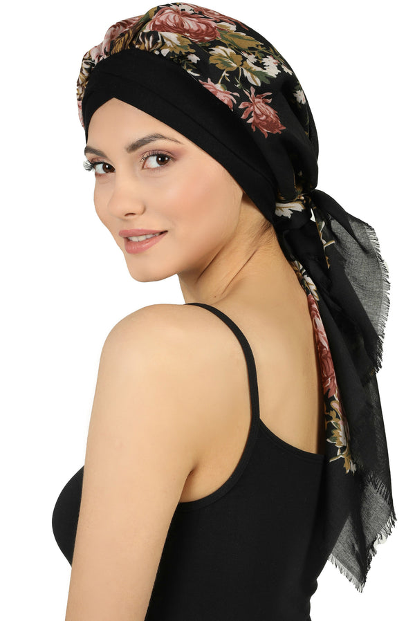 W Front Cap with Attached Scarf (Black Front Black Flowers-401)