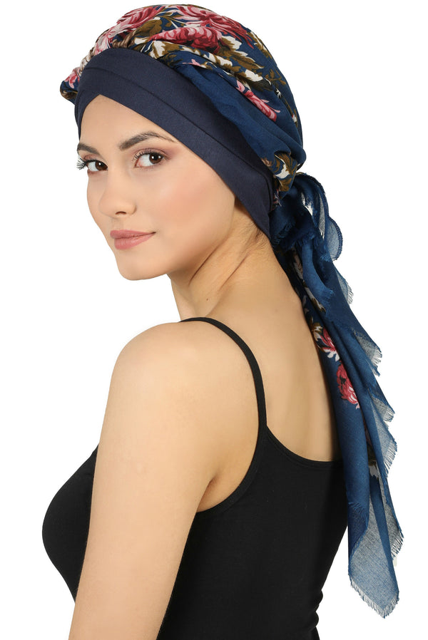 W Front Cap with Attached Scarf (Denim Front Denim Flowers-407)