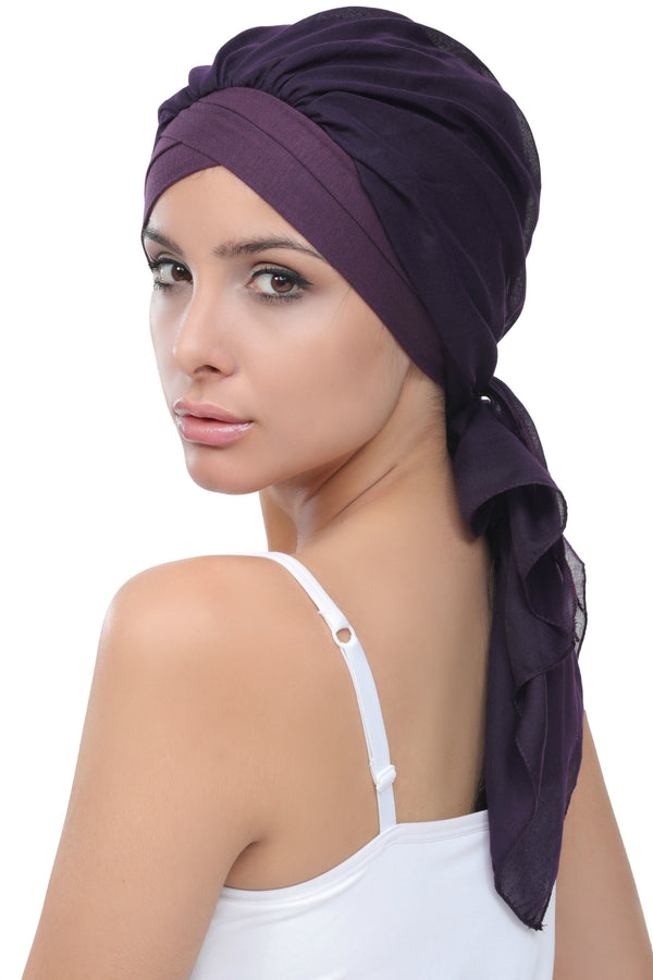 Deresina W cap with attached chemo headscarf style41 mulberry