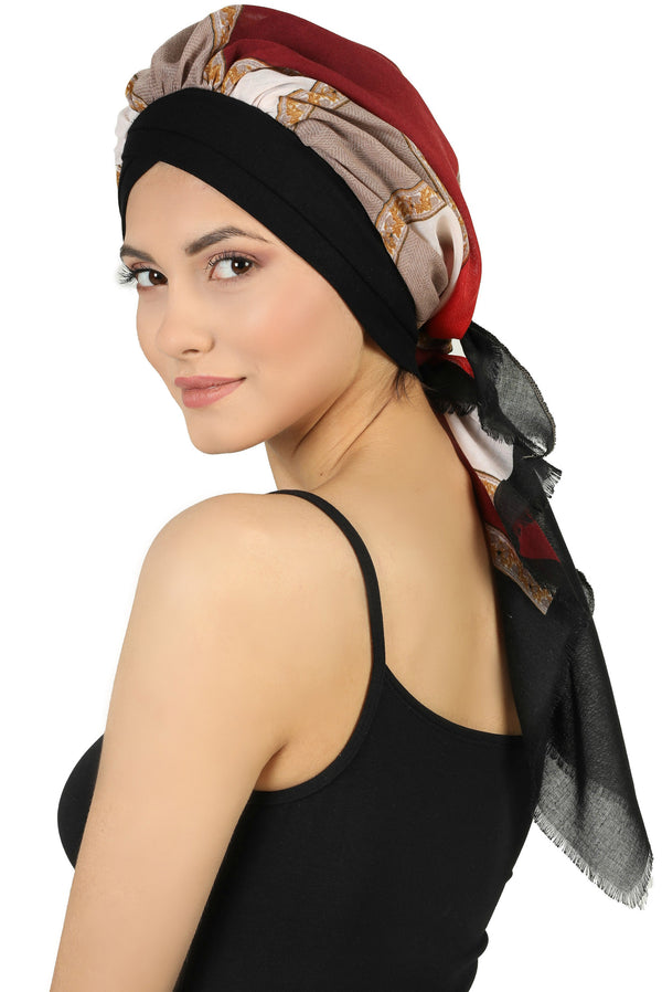 W Front Cap with Attached Scarf (Black Front Colourful-502)