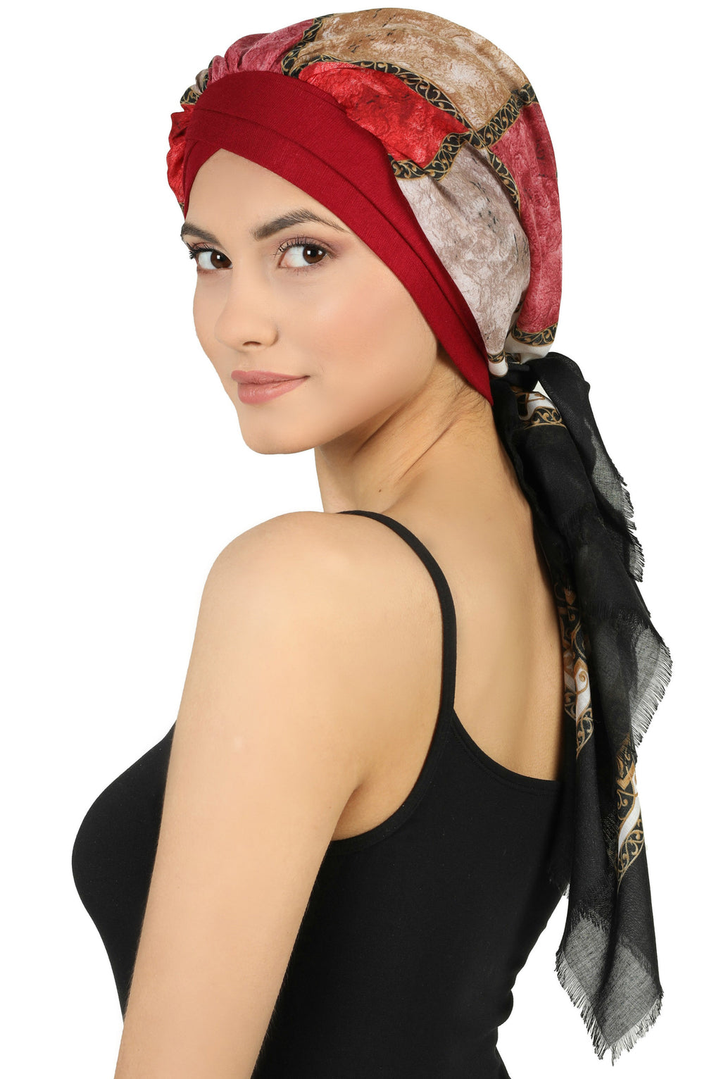 W Front Cap with Attached Scarf (Burgundy Front Colourful-505)
