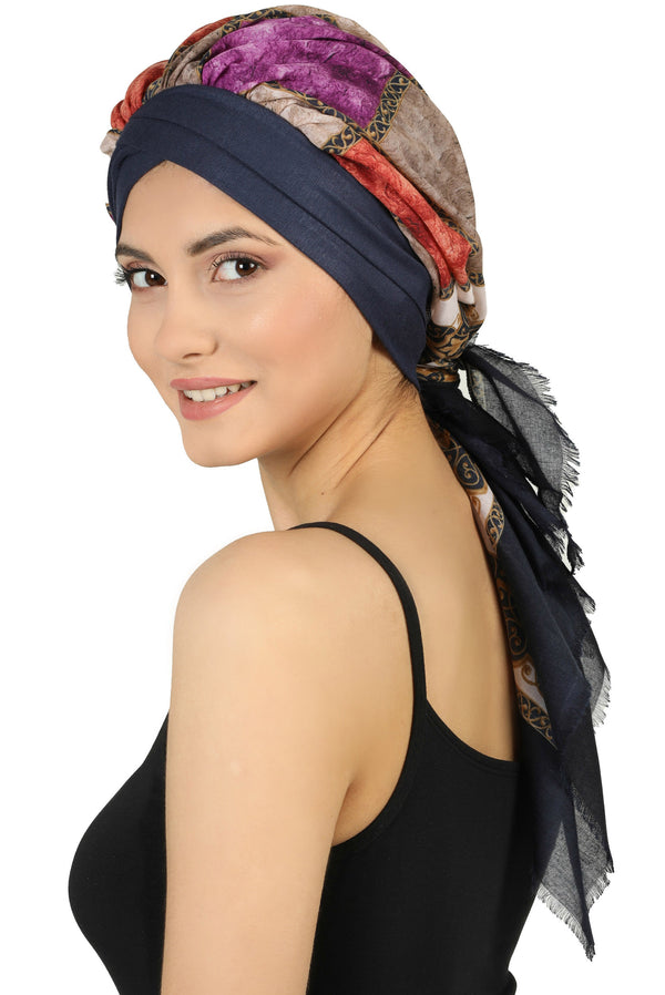 W Front Cap with Attached Scarf (Denim Front Colourful)
