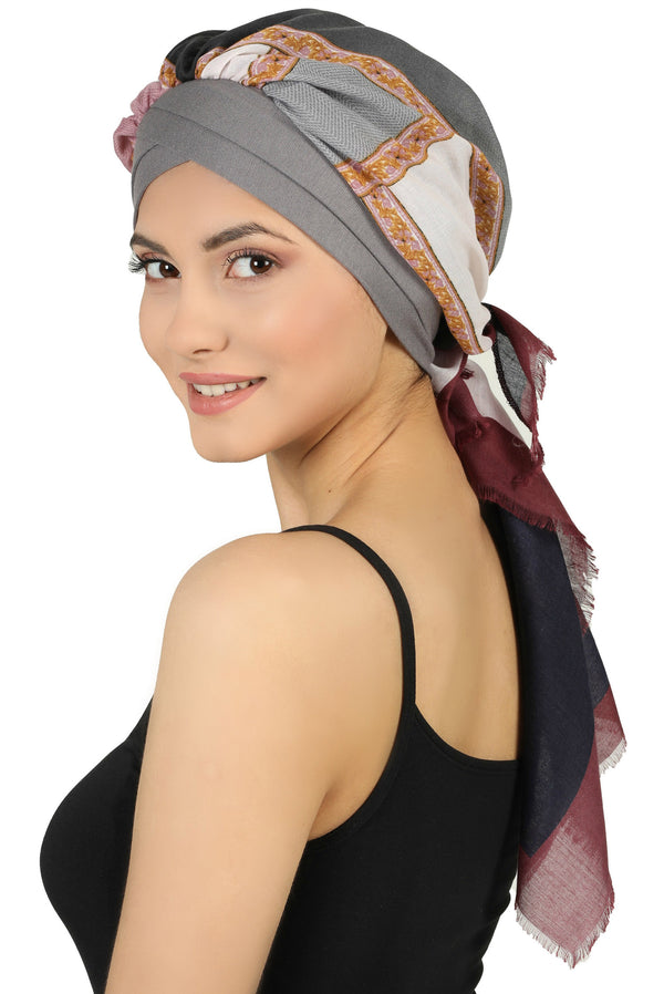 W Front Cap with Attached Scarf (Grey Front Colourful-510)