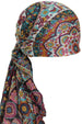 Deresina Everyday square chemo headscarf 6004 black cyan mosaic