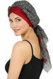 W Front Cap with Attached Scarf (Burgundy Front Black Printed-603)