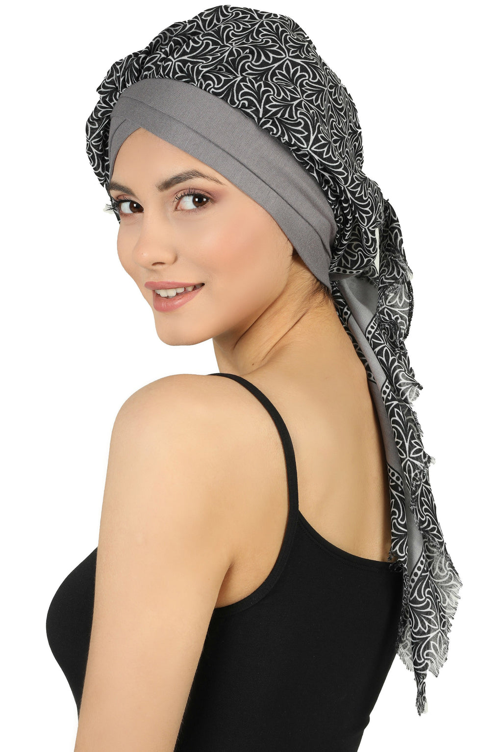 W Front Cap with Attached Head Scarf (Grey Front Grey Printed-609)
