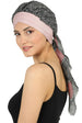 W Front Cap with Attached Scarf (Pink Front Black Printed-615)