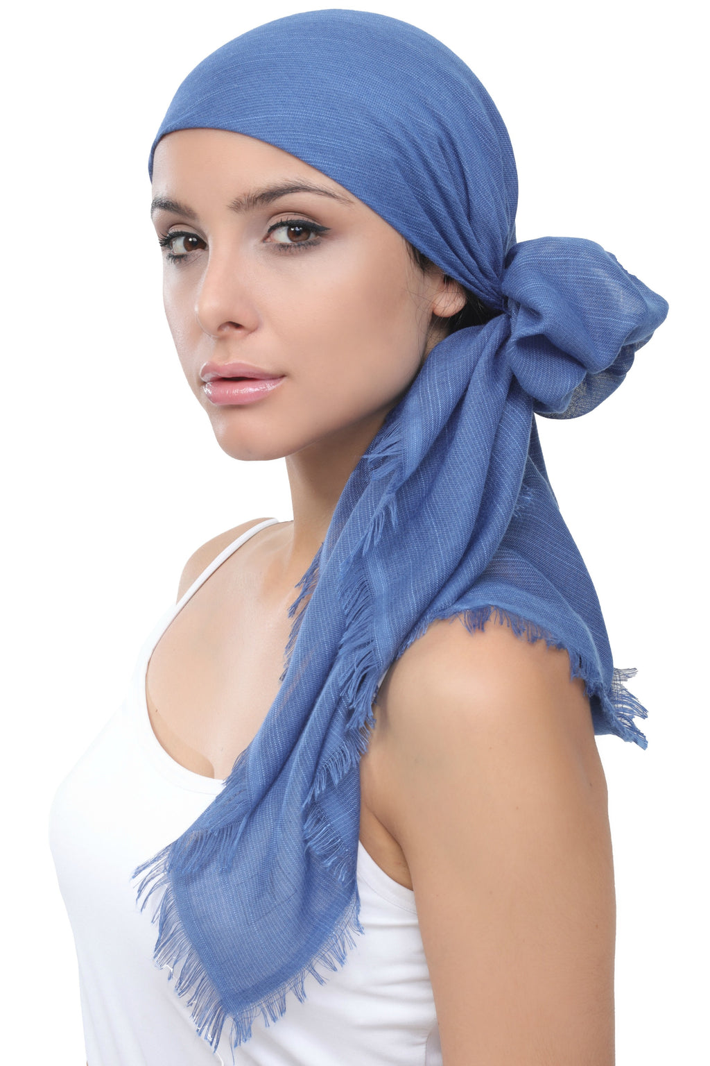 Ultra Soft Head Scarf - Air Force Blue with Edges