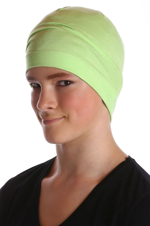 Deresina teen beanie for hairloss apple green