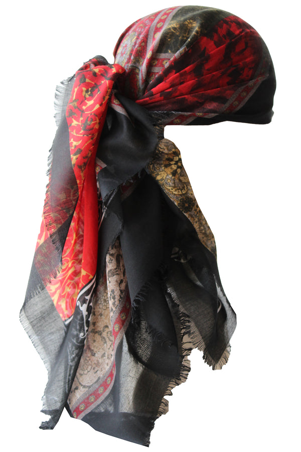 Special Fringed Trim Square Headscarf- Asymmetric Design