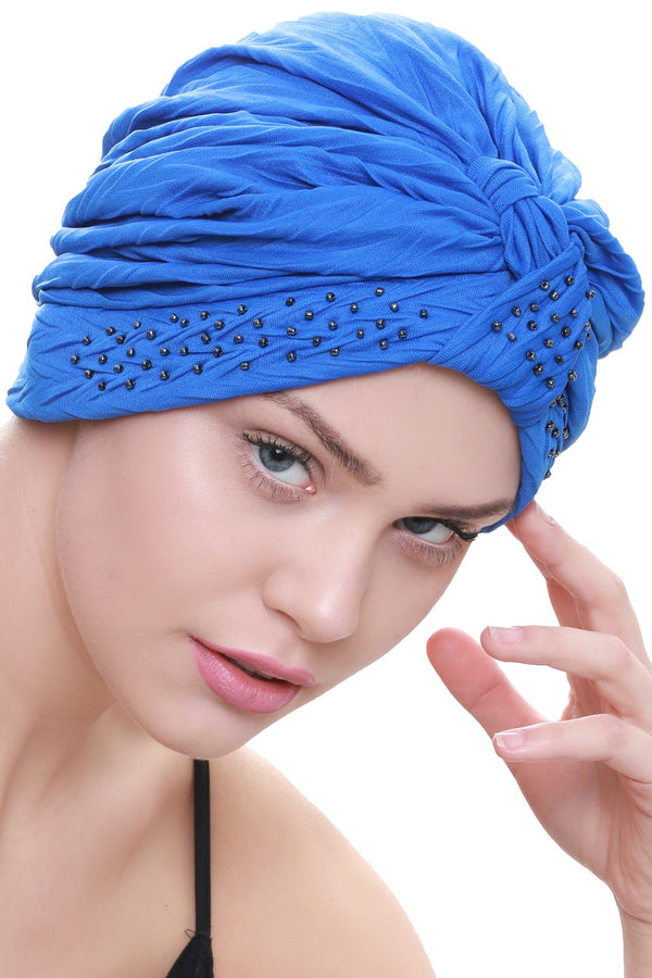 Deresina Beaded w turban for hairloss azure