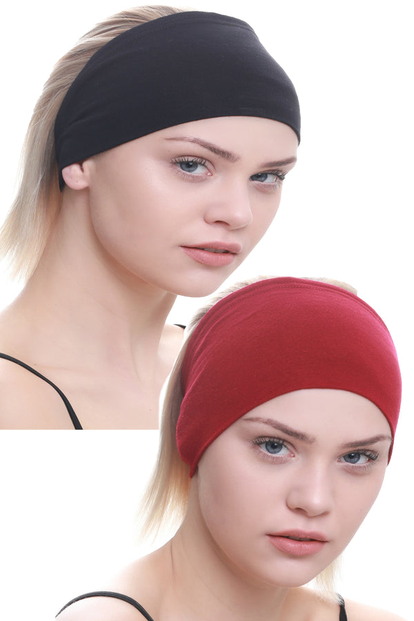 Yogi Headband-Black/Burgundy 2pcs