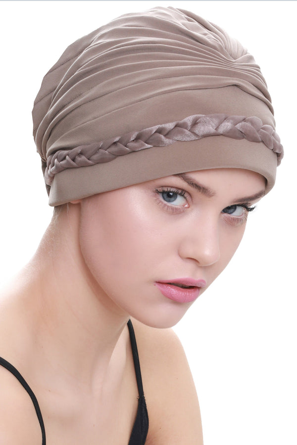 Deresina Braided detail chemo turban beige