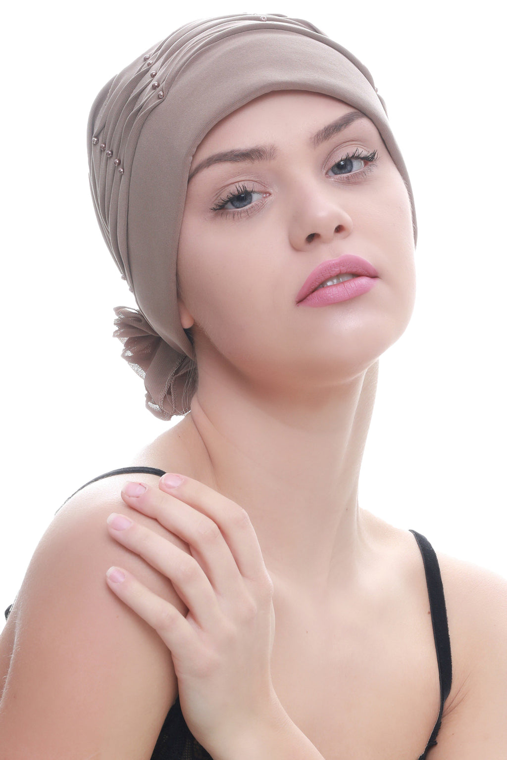Deresina Twisted pleated cancer headwear beige