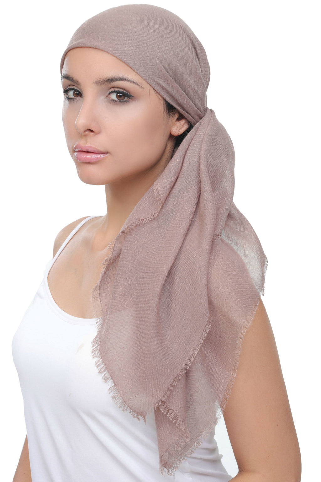 Deresina Four Seasons Square Chemo Headscarf Beige Linen Printed