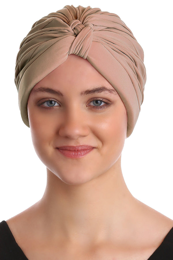 Deresina Pleated w pattern turban for chemo beige