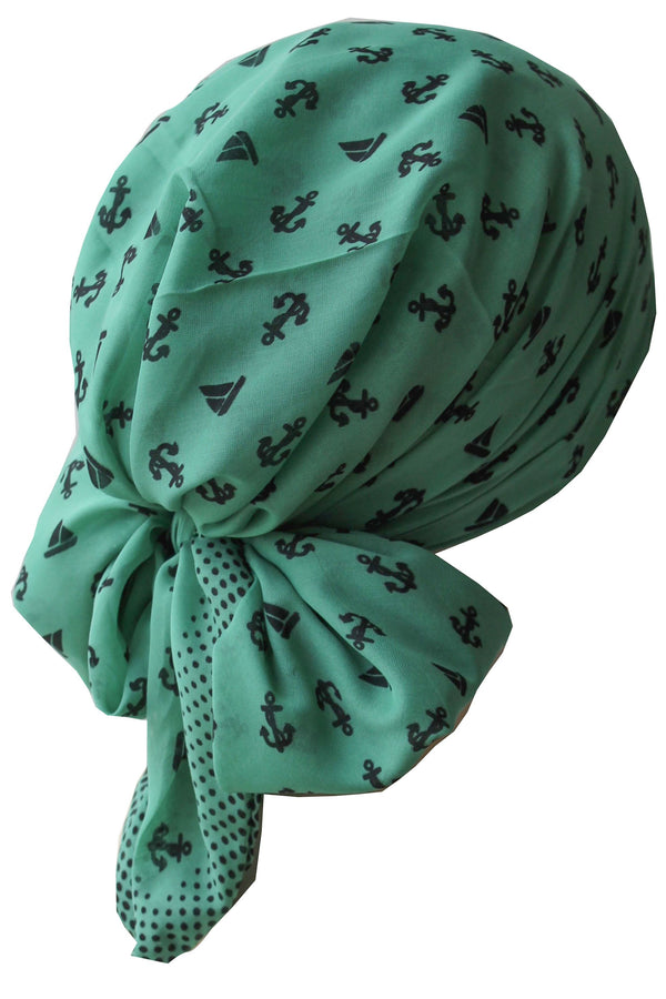 Deresina Easy tie chemo headscarf for girls benetton green