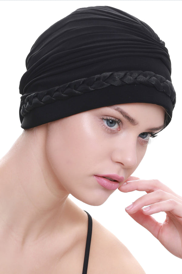 Deresina Braided detail chemo turban black
