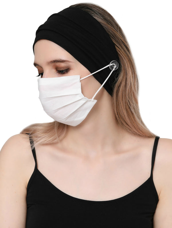 Clear Button Plain Headband for Mask - Black