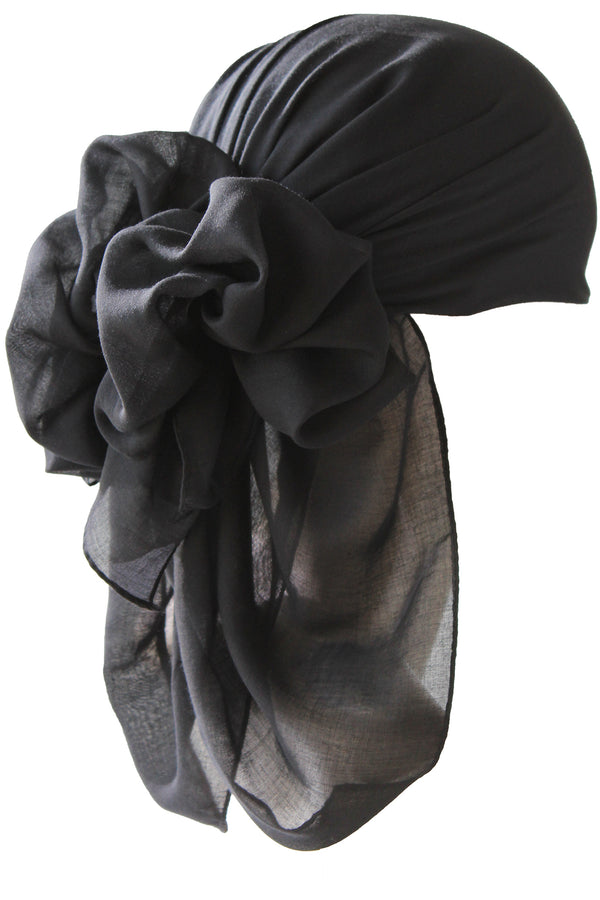 NEW-Plain Square Headscarf- Black