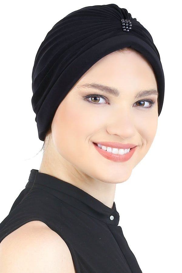 Deresina Pearl detail turban for cancer patients black