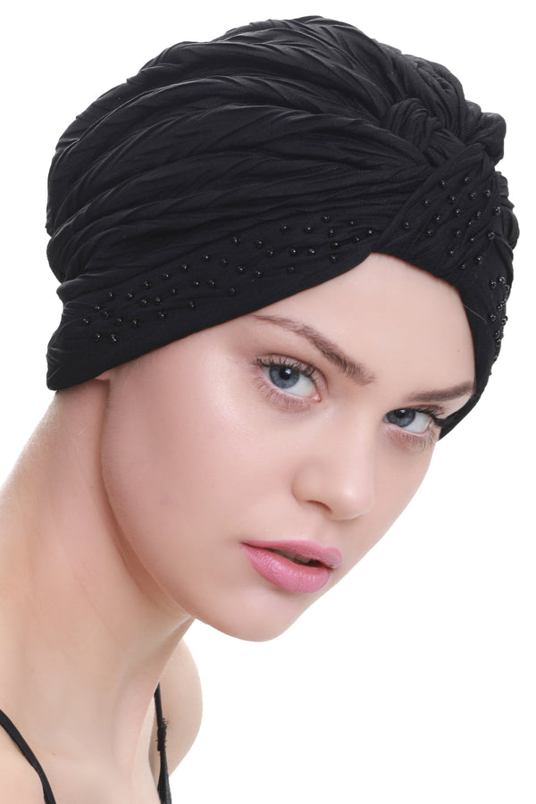 Deresina Beaded w turban for hairloss black