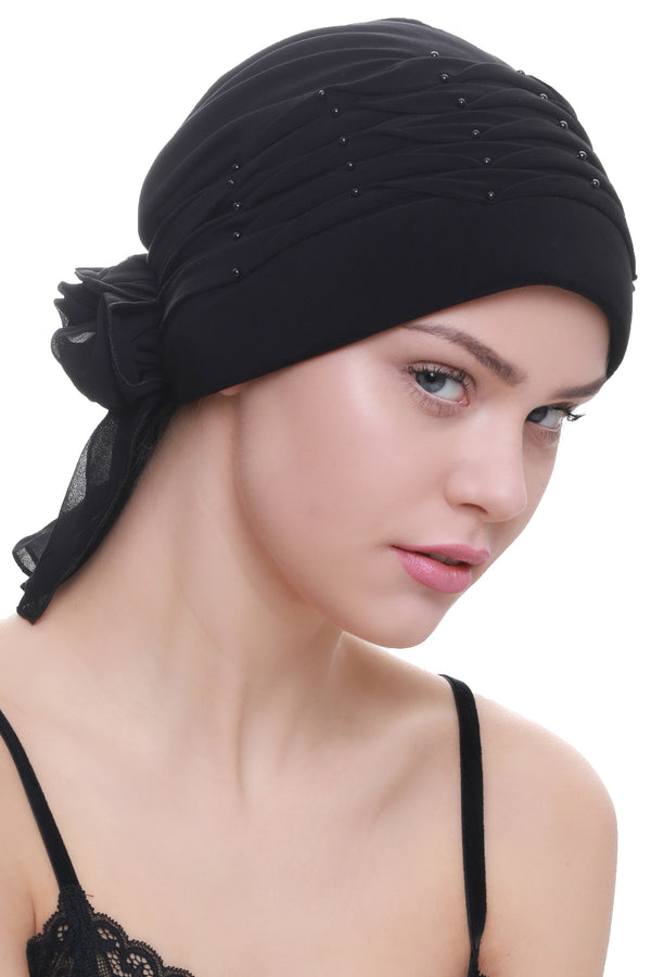 Deresina Twisted pleated cancer headwear black