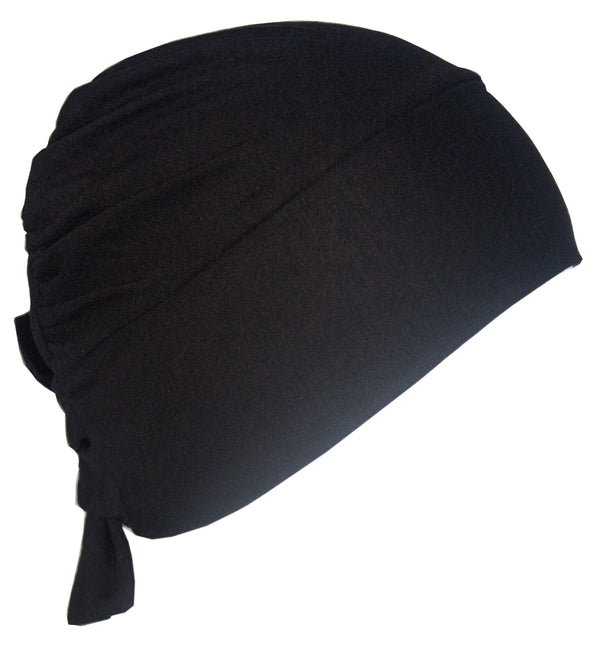 Unisex Tie Back Cotton Cap - Black