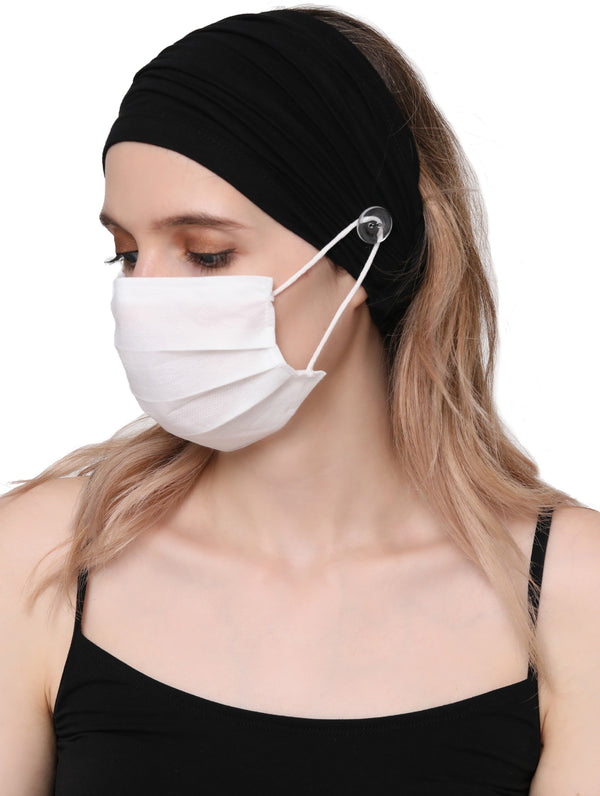 Stretchy Headband for Mask - Black