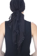 Flower Edges Soft Square Head Scarf-Black