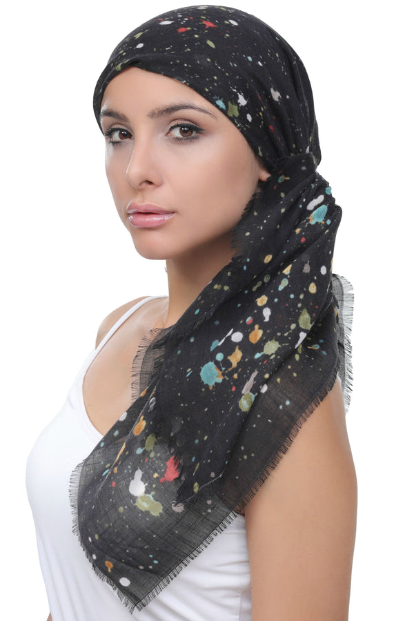 Deresina Four Seasons Plain Square Chemo Headscarf Black Colour Palette
