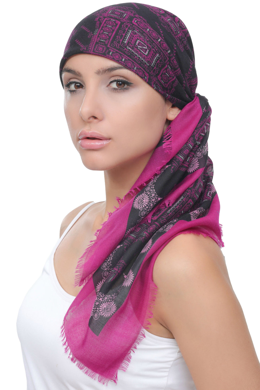 Deresina Ultra Soft Chemo Headscarf Black Jazzberry Printed