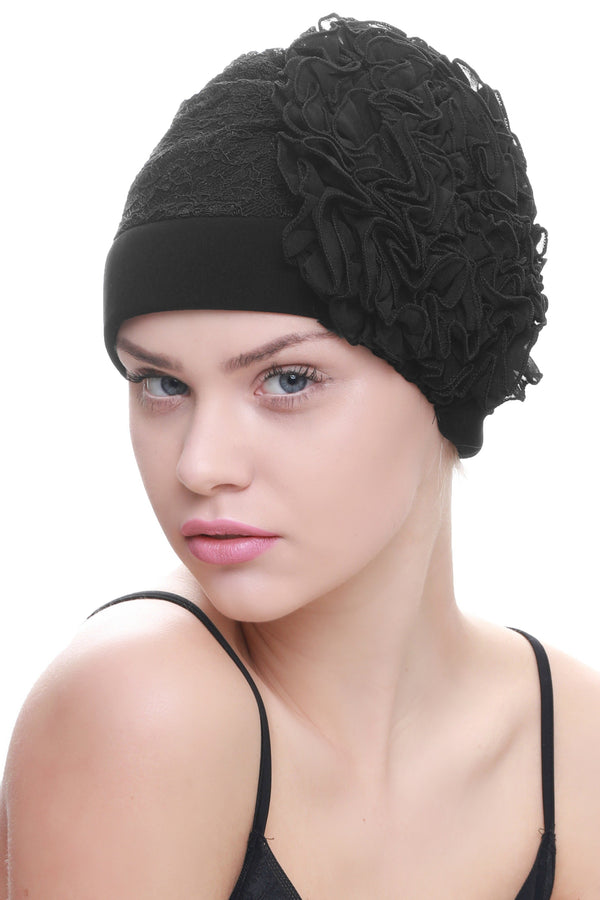 Deresina Lace hairloss headwear with ruffle flower black