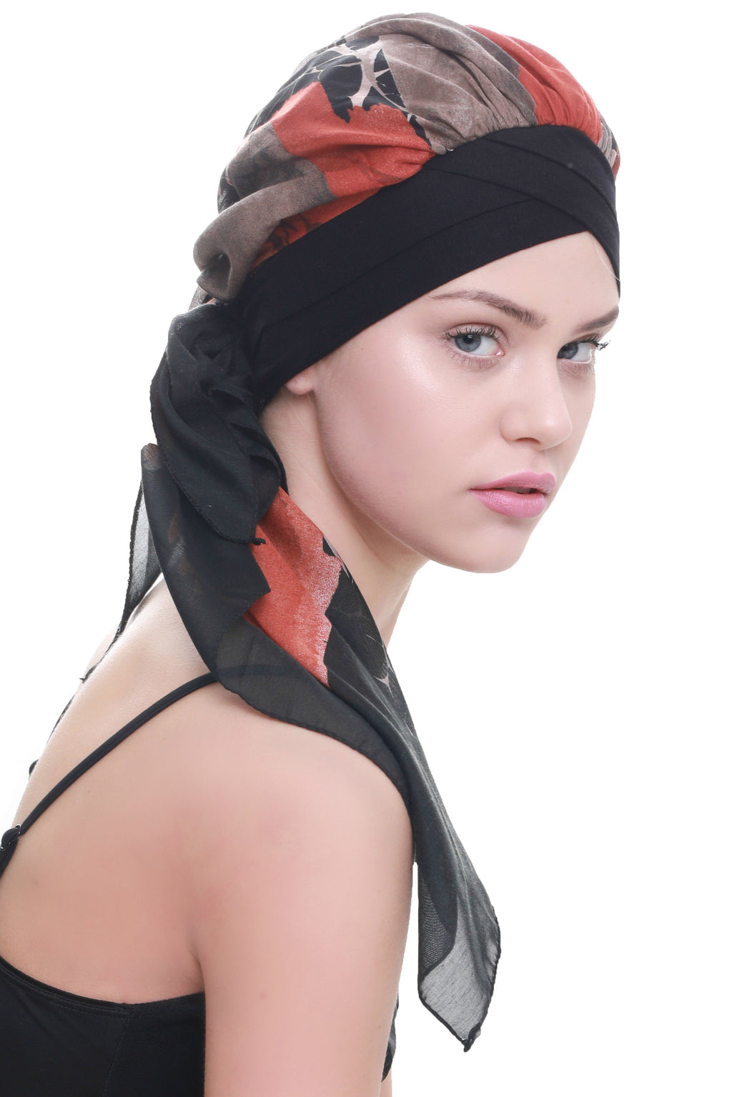 Deresina W cap with attached chemo headscarf black mink abstract design