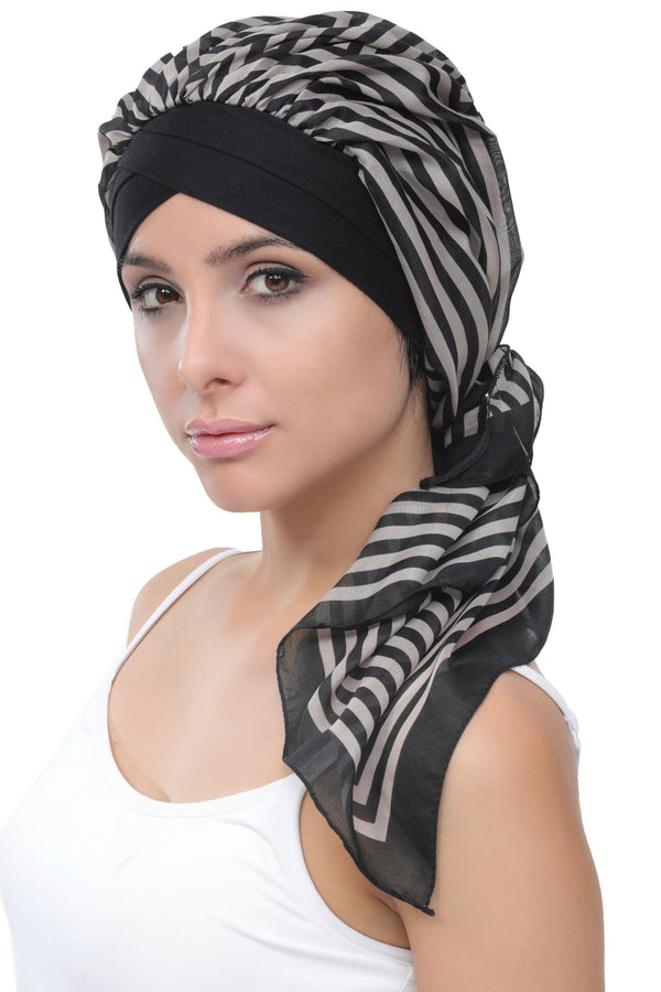 Deresina W cap with attached chemo headscarf 24 black mink