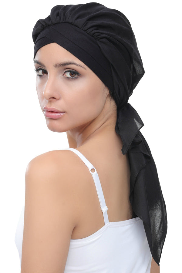 Deresina W cap with attached chemo headscarf style25 black