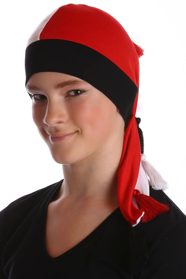 Deresina elf beanie for hairloss red white black