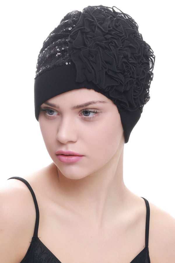 Deresina Lace hairloss headwear with ruffle flower sequin black