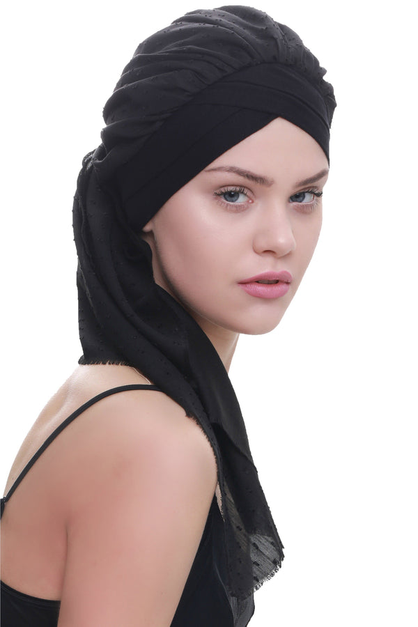 Deresina W cap with attached chemo headscarf black teeny weeny