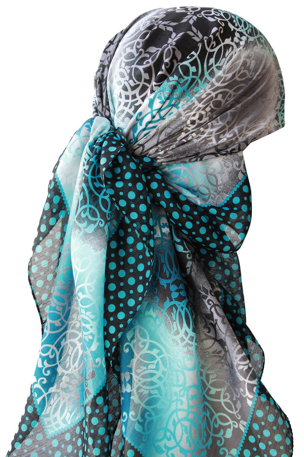 Deresina Everyday square chemo headscarf black teal dotted end