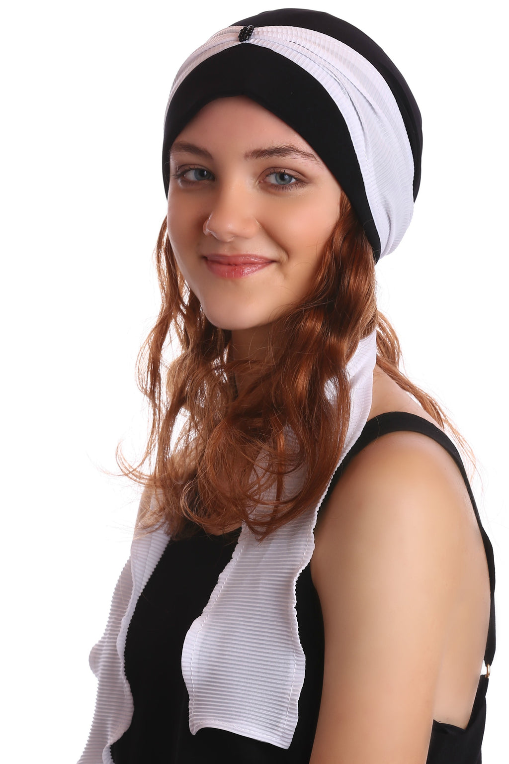 Pleated Ribbon Headwear with Hair - Black/White