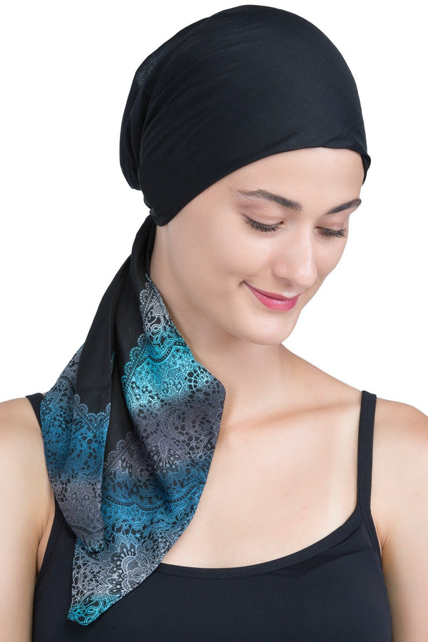 Deresina Easy tie chemo headscarf black teal end