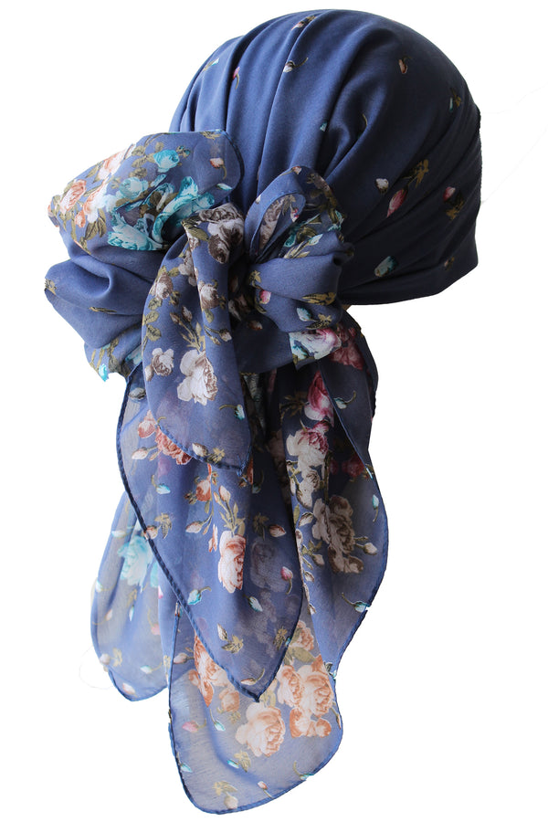 Everyday Square Headscarf- Blue with Flowers