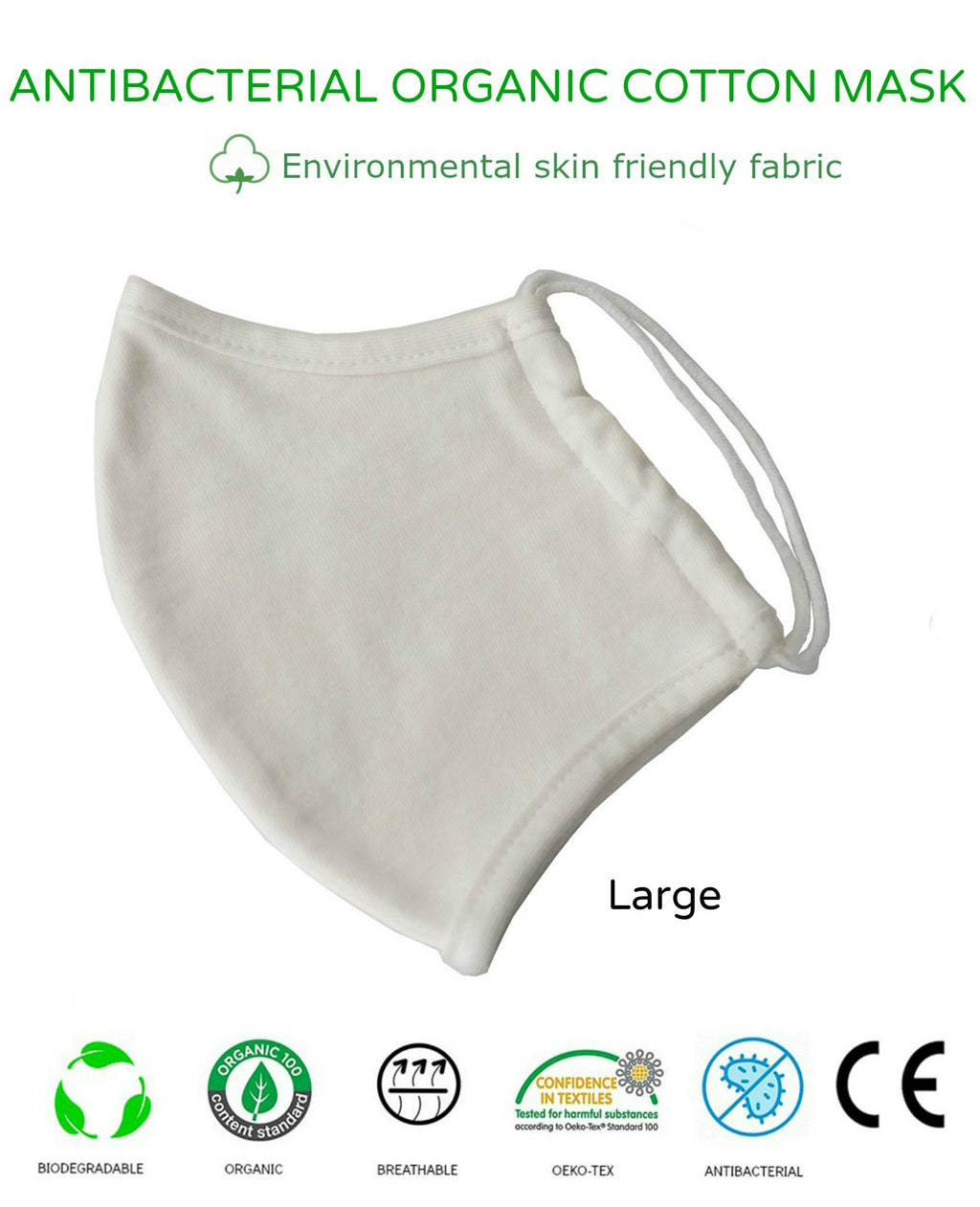 Unisex Washable Reusable 2Ply Antibacterial Organic Cotton Cup-Shape Face Mask-LARGE