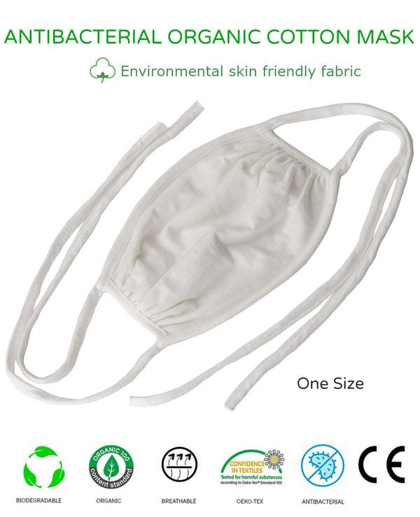 Unisex Washable Reusable 2Ply Antibacterial Organic Cotton Tie-On Face Mask-ONE SIZE